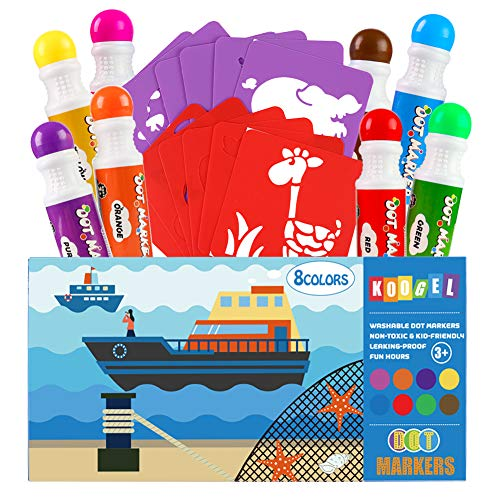 Koogel Dot Markers Pack Set, 8 Colors Dot Markers 12 Pcs Children Drawing Templates Dot Paint Markers Washable Markers for Kids for Toddlers Preschoolers Fun Art Supplies