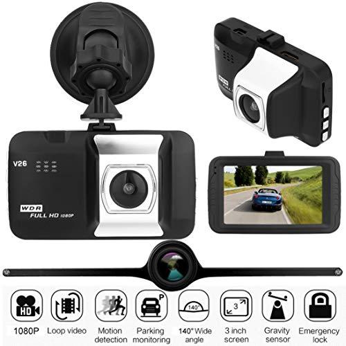 Chezaa Dash Cam Car, 1080P 3″ HD 1080P Car Camera Driving Recorder,140 Wide Angle Dashboard Camera, Car DVR Vehicle Dash Camera G-Sensor (Black+Silver)