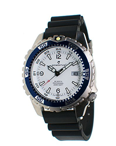 Momentum Men's Quartz Stainless Steel and Rubber Casual Watch, Color:Black (Model: 1M-DV06W9B)