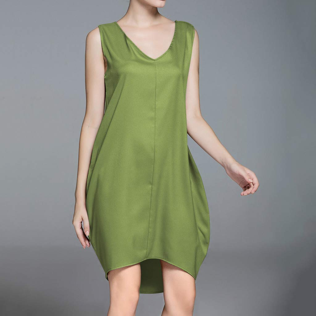 Sleeveless Dress,Youngh Summer Women Casual Sleeveless Tank V Neck Loose Beach Holiday Dress Green by Youngh Dress (Image #3)