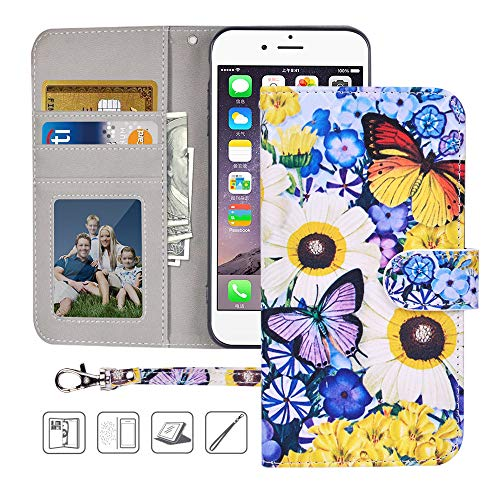 iPhone 6S Plus,6 Plus Wallet Case,MagicSky Premium PU Leather Flip Folio Case Cover with Wrist Strap, Card Holder,Cash Pocket,Kickstand for Apple iPhone 6S Plus/iPhone 6 Plus(Butterfly Over Flowers)