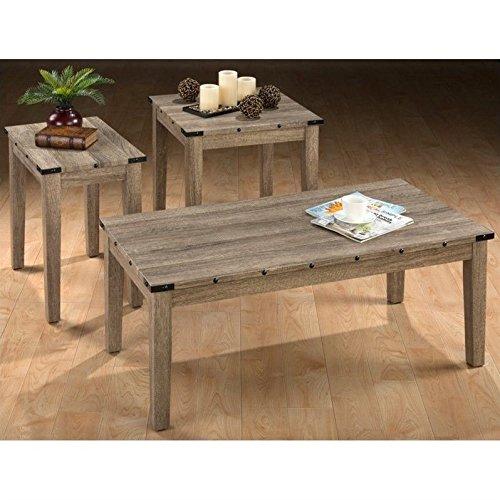 Jofran Taos 3 Piece Coffee Table Set in Oak - 48' Cocktail Table Set