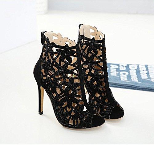 Poisson Seul 5cm Thirty Bouche Bottes De Khskx Talon Creux Femmes Chaussures Fermeture Super Court Et Noir nine 8 gqBwxw7PA