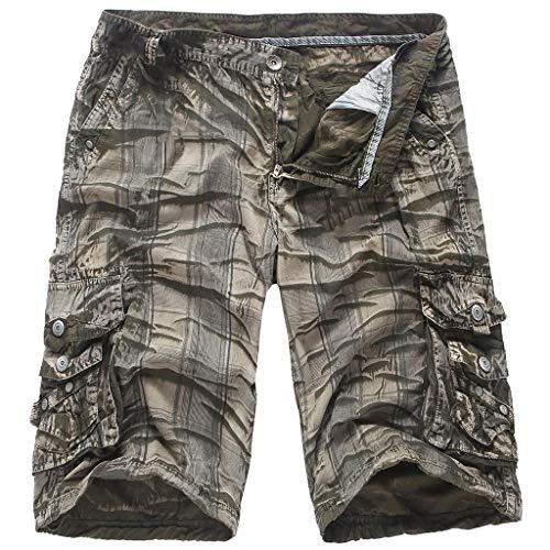 Benficial Men's Summer Multi-Pocket Camouflage Twill Cargo Shorts Outdoor Wear Lightweight Shorts
