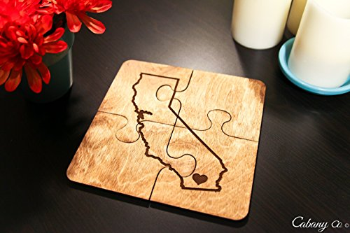Personalized Coasters - Set of 4 - State Puzzle Piece