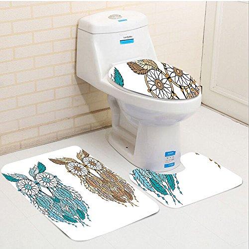 Keshia Dwete three-piece toilet seat pad customOwls Dreamcatcher Style Owl Tribal Ethnic Features Magic Farsighted Birds Artsy Print Cream White Teal