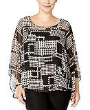 Alfani Women's Plus Size Chiffon Angel-Sleeve Blouse, 1X, Black&White