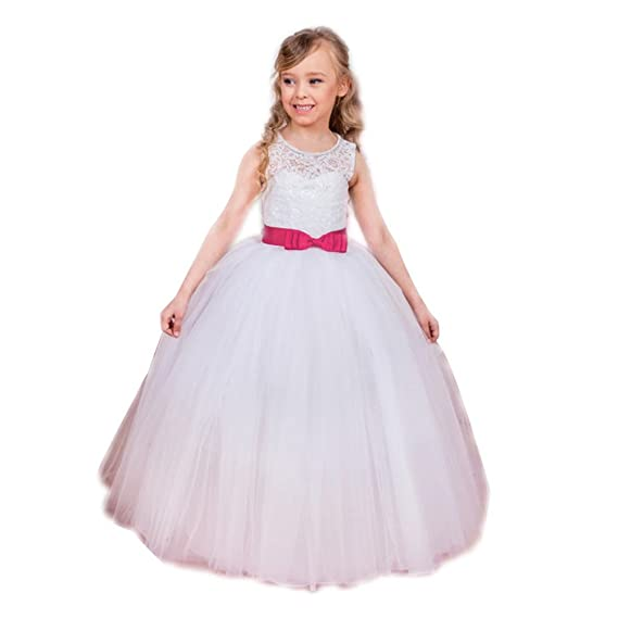 Abaowedding ABwedding First Communion Dresses White Lace Bow Sash Ball Gown Flower Girl Dresses (US