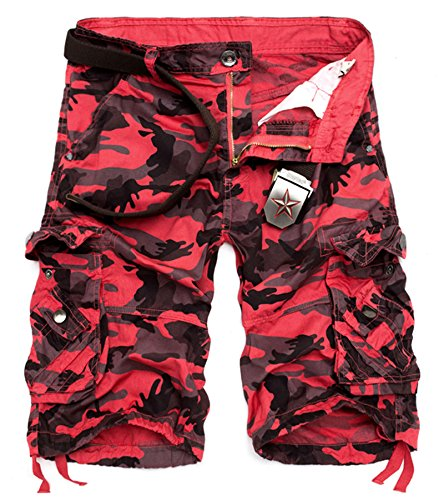 (AOYOG Men's Camo Cargo Shorts Cotton (40, Red Camouflage #956))