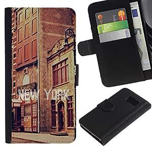 """Be-Star la tarjeta de CršŠdito Slots PU Funda de cuero Monedero caso cubierta de piel Para Samsung Galaxy S6 ( Edificios de Nueva York Street Texto Ciudad Vintage"""" )"""