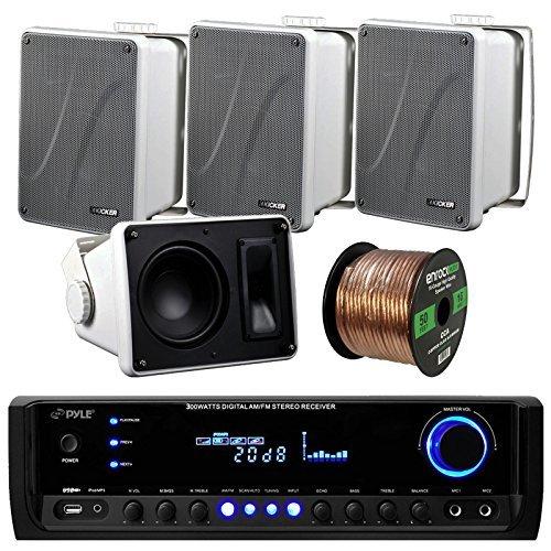 "Pyle PT390BTU Bluetooth Digital Home Theater 300-Watt Stereo Receiver Bundle Combo with 4X Kicker KB6000W White 6.5"" Full Range Bookshelf Waterproof Speaker + Enrock 50ft 16g Speaker Wire"