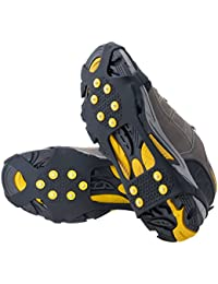 Ice & Snow Grips Over Shoe/Boot Traction Cleat Rubber Spikes Anti Slip 10-Stud Crampons Slip-on Stretch Footwear S/M/L/X-L(Extra 10 Studs)