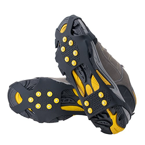 (OuterStar Ice & Snow Grips Over Shoe/Boot Traction Cleat Rubber Spikes Anti Slip 10-Stud Crampons Slip-on Stretch Footwear S/M/L/X-L(Extra 10 Studs) Large (Shoes Size: W 10-13/M 8-11))