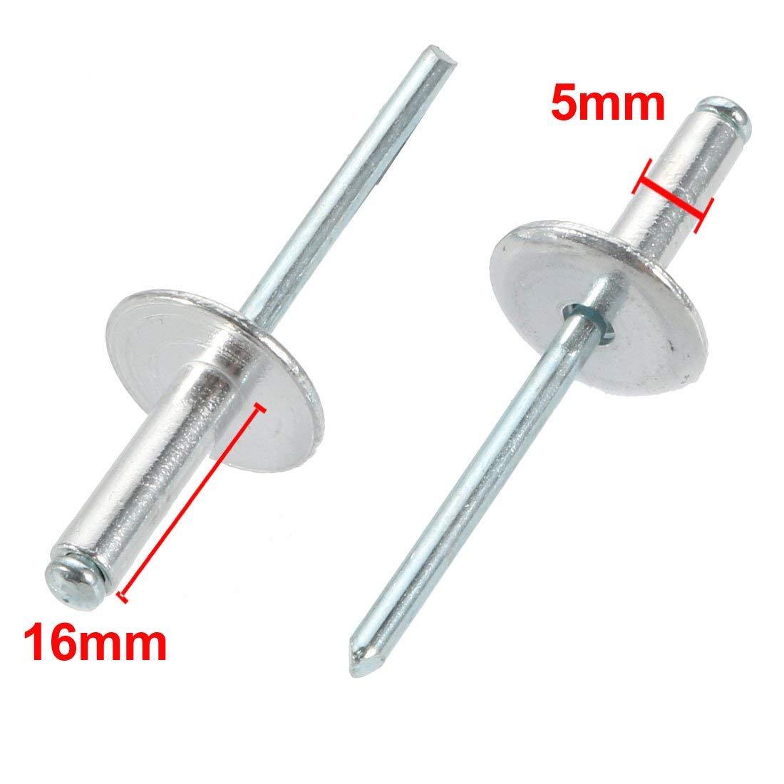 40 pcs 5mm x 16mm Remaches ciegos de brida grande de extremo abierto de Aluminio