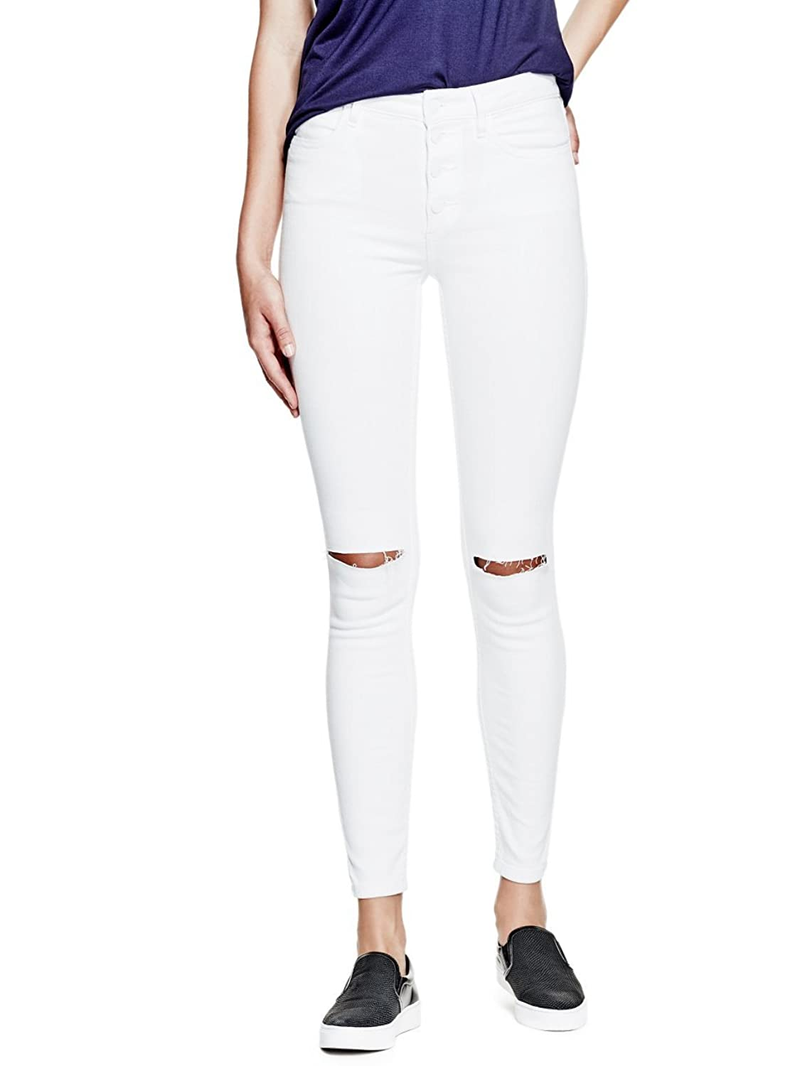 GUESS 1981 Button-Front Skinny Jeans