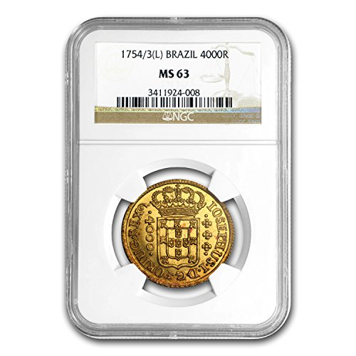 1754 BR 1753-L Brazil Gold 4000 Reis Jose I MS-63 NGC Gold MS-63 NGC