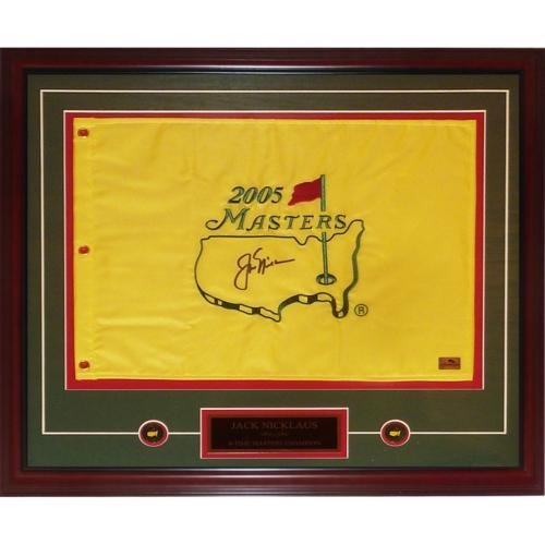 Jack Nicklaus Autographed 2005 Masters Golf Pin Flag Deluxe Framed with Nameplate and Ball Markers