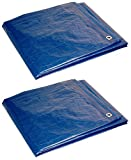 Foremost Dry Top 00057 5' x 7' Blue Tarp Full Size 7Mil Poly Tarp - Pack of 2 (5'x7')