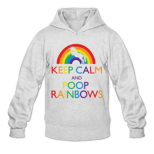 Pitch Perfect 2 Halloween Costumes (DVPHQ Men's Custom Keep Clam And Poop Rainbows Hoodie Size XL Ash)