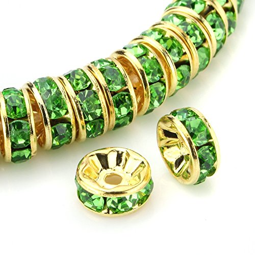 RUBYCA 100pcs Round Rondelle Spacer Bead Gold Tone 10mm Peridot Green Blue Czech Crystal