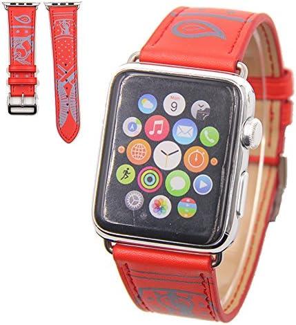 Vicstar Apple watch Series 3 42mm ベルト 交換バンド Apple watch 3 ベルト 高級レザー 本革バンド 金属クラスプ付き 上品 柔らか ビジネス風 脱着簡単 レッド