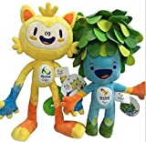 Brazil Rio Olympic 2016 Paralympic Plush Mascot Vinicius and Tom Dolls, 2-Pcs