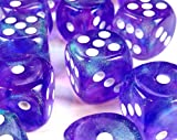 Custom & Unique {Standard Medium 16mm} 12 Ct Dozen Pack Set of 6 Sided [D6] Square Cube Shape Opaque Playing & Game Dice w/ Rounded Corner Edges w/ Sparkle Design [Purple & White Colored] w/ Bag