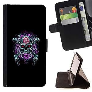 Momo Phone Case / Flip Funda de Cuero Case Cover - Goth Cráneo malvado Rose Pentagram - LG G4