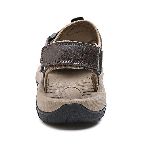 Playa Khaki Transpirable para Ocasionales Cuero Genuino Juans de Size Hombres de Antideslizante Zapatos de Superior Suela Hombre EU Color Suela Black 40 shoes los Zapatos Sandalias W76AqAY1w