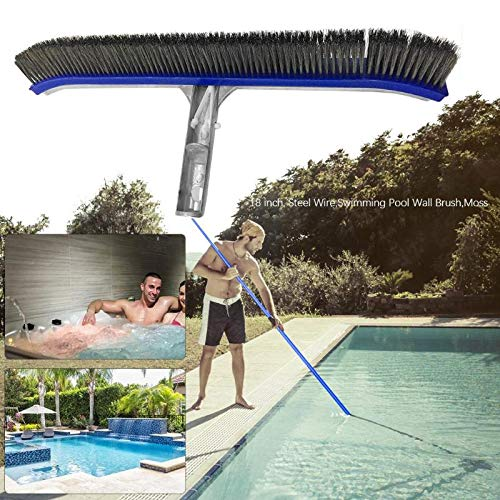 Bowbof - 18in Swimming Pool Wall Brush Cleaning Tools Aluminum Handle for Pond Spa Spring Pools Cleaner for Swimming Pool by Bowbof