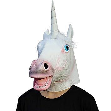 Circlefly Máscara de Halloween Unicornio máscara Pascua Masquerade Party Animal Eco látex máscara