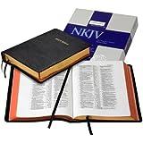 NKJV Wide Margin Reference Bible, Black Edge-Lined Goatskin Leather, Red Letter Text NK746:XRME