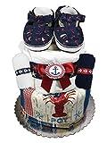 Nautical Diaper Cake - Baby Shower Centerpiece - Newborn Gift Set