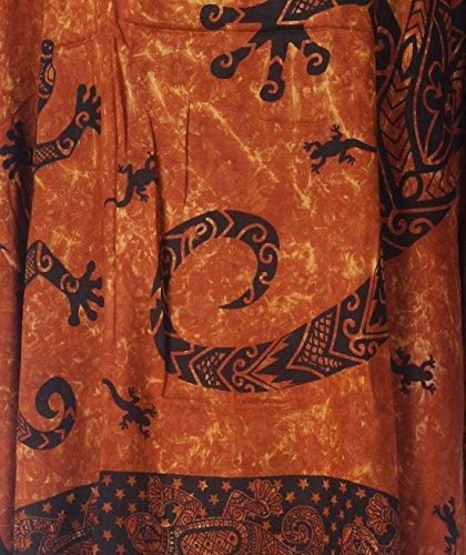 Tropicalsale Women's Plus Size Stylish Gecko Brown Caftan Tunic Hippy Top