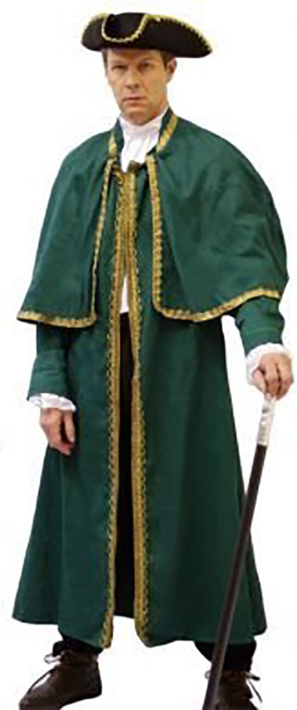 Steampunk-Victorian-Through the Ages-Panto-Oliver MR BUMBLE COAT Available in Black, Green & Red - All Sizes (LARGE, GREEN)