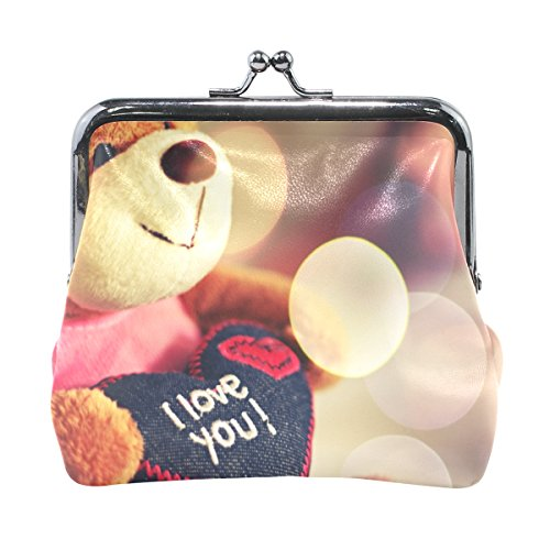 Leather Coin Purse Clutch Pouch Handbag with I Love You On Cute Bear Toy Wallet for Women Girls (Lambskin Soft Plush Toy)