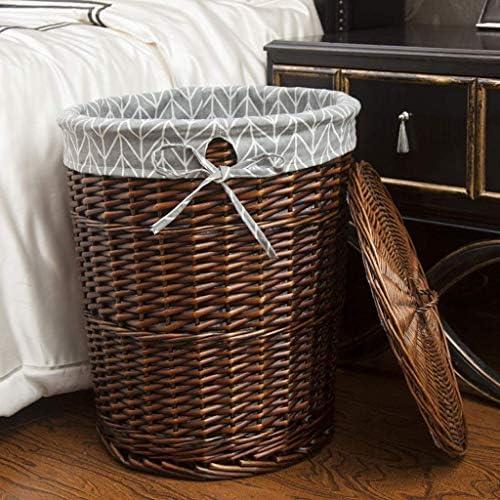 Panier à linge XINYALAMP en Osier tissé doublé Basket-Ronde Vêtements Boîte de Rangement avec Couvercle avec Machine Lavable Doublure en Toile