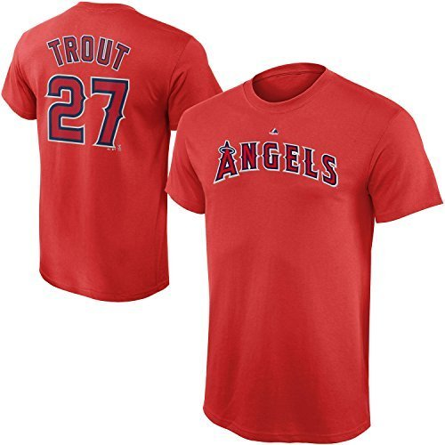 MLB Youth 8-20 Performance Team Color Player Name and Number Jersey T-Shirt (Small 8, Mike Trout)