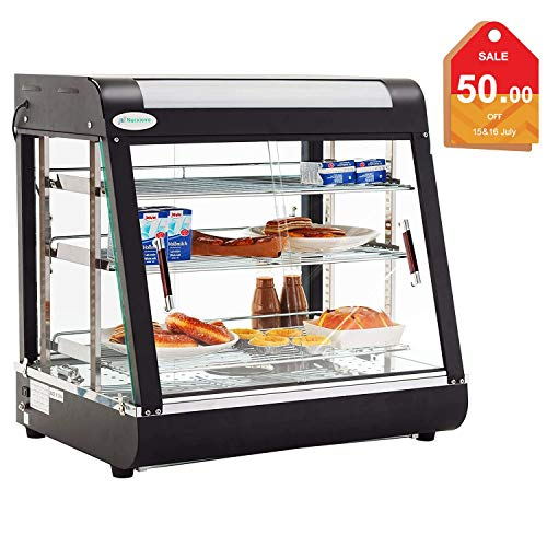 SUNCOO 27Inches Commercial Food Warmer Display Hot Food Countertop Case Restaurant Heated Cabinet Food Showcase for Self Service Pizza Empanda Pastry Patty Warmer 25-1/2inchX 21inch X 19inch