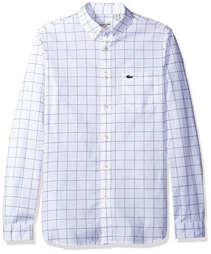 Lacoste Men's Long Sleeve Windowpane Check Oxford Regular Fit Woven Shirt, CH3946-51, White/Navy Blue, (Windowpane Check Shirt)
