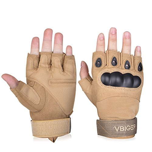Vbiger Military Half-finger Fingerless Tactical Airsoft Hunting Riding Cycling Gloves (Beige2, M)