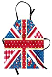 Ambesonne Shabby Chic Apron, Cute British Flag in Floral Style Retro Polka Dots Country Culture Inspired, Unisex Kitchen Bib Apron with Adjustable Neck for Cooking Baking Gardening, Multicolor