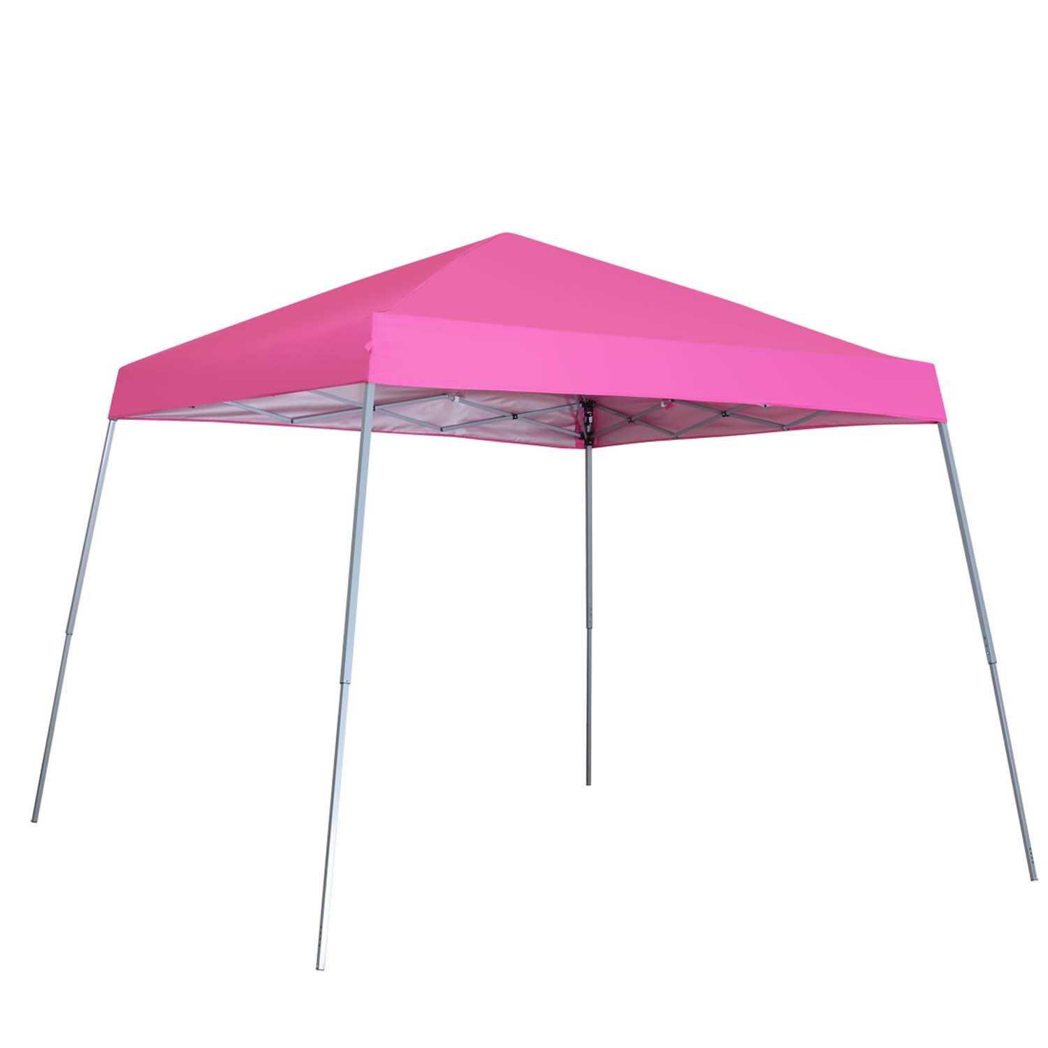 Outdoor Basic 8 x 8 Ft Canopies 10 x 10 Ft Base Slant Legs Pop up Canopy Tent For Camping Party Pink