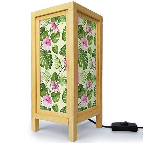 Thai Oriental Asian Handmade Natural Wood Minimalistic Desklamp Table Bedside Night Light - Pink Green Jungle Bush