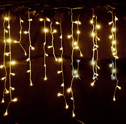 LEMONBEST New 3.5M 96 LED Fairy Lights Curtain Icicle Starry String Lights for Bedroom Christmas ...
