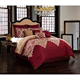 Master Bedroom 10 Piece Burgundy Red Tan Motif Paisley Design Comforter Queen Set, Brown Adult Bedding Master Bedroom Modern Stylish Graphic Damask Pattern Elegant Themed Traditional, Brushed Polyester