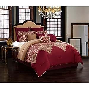 Amazon Com 10 Piece Burgundy Red Tan Motif Paisley Design