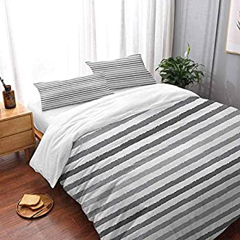 Image of alisoso Quilt Cover and Shams 3Pc Bedding Set Striped Gray and White Stripes Monochrome Tone Brush Style Lines Grunge Retro Digital Print Bedding 3 Piece Duvet Cover Set Oversized King