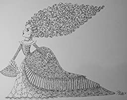 Damisela sideways- Costa Rican Handmade Artwork -Hand made contemporary draw ,Modern Artwork Wall Art for Room Decoration