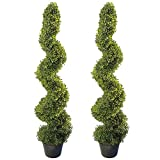 4' Artificial Topiary Spiral Boxwood Trees (Set of 2) by Seven Oaks | Highly Realistic Potted Decorative Buxus Shrubs | Fake Plastic Plants for Home & Garden | Indoor & Outdoor Use | UV Protected